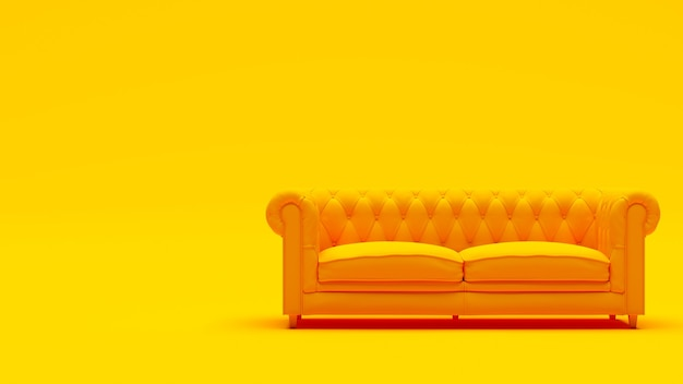Canapé de luxe chesterfield jaune sur fond jaune