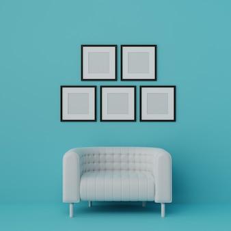 Canapé moderne et groupe de cadre photo dans le salon bleu clair. style de couleur pastel. rendu 3d.