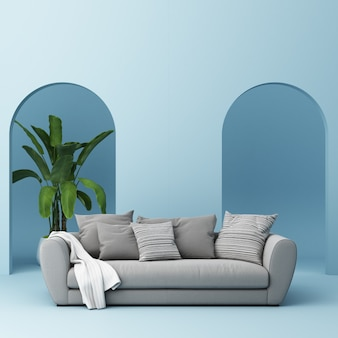 Canapé avec mur en arc bleu