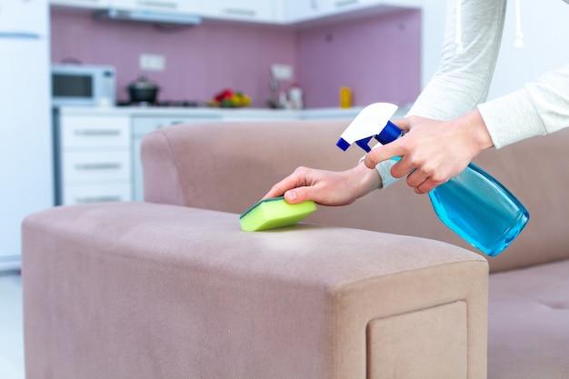 Canapé de nettoyage avec une éponge et un spray dans la chambre à la maison. service de ménage et de nettoyage. lavage de meubles