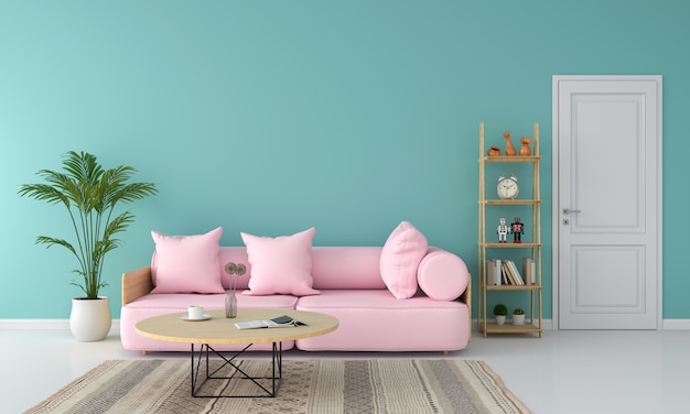 Canapé rose dans le salon, concept de couleurs d'été