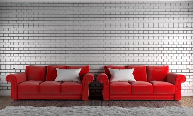 Canapé rouge et oreiller, tapis, plancher en bois sur le mur de briques vide. rendu 3d