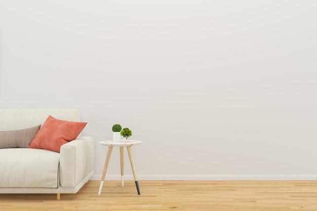 Canapé de salon avec fond de plancher de bois de table arbre