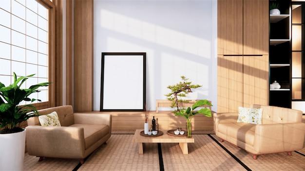Canapé de style japonais sur la chambre. rendu 3d