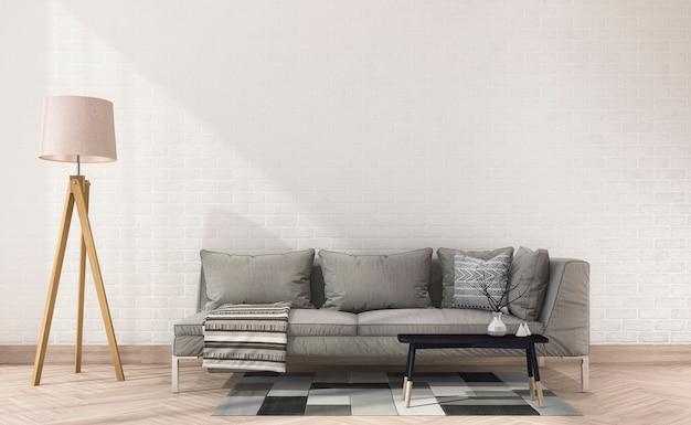 Canapé en tissu vintage avec rendu 3d près de lampe et mur de briques blanches