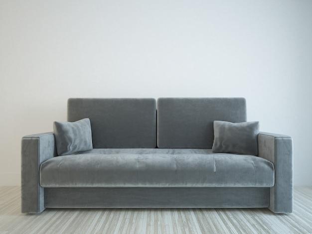 Canapé en velours gris en salle blanche avec parquet en bois clair