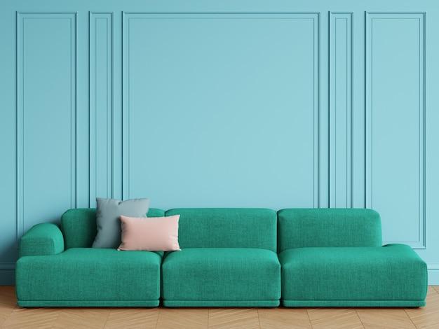 Canapé vert émeraude design scandinave moderne à l'intérieur. murs bleus avec moulures, parquet à chevrons. espace copie, rendu 3d