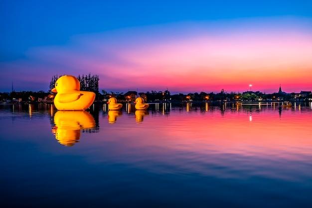 Canards jouet au parc public au coucher du soleil