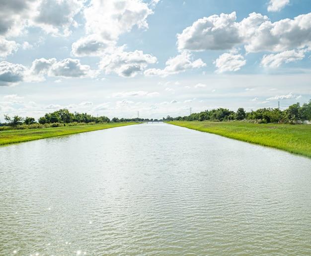 Canaux d'adduction et de distribution d'eau .un canal d'irrigation avec un chemin le longeant parmi un ciel vert et bleu. beau paysage à bang len, nakhon pathom, thaïlande