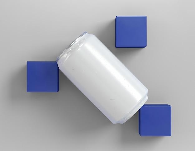 Canette en aluminium abstraite pour présentation de boisson avec trois cubes