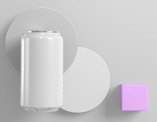 Une canette en aluminium abstraite pour la présentation de soda avec des formes