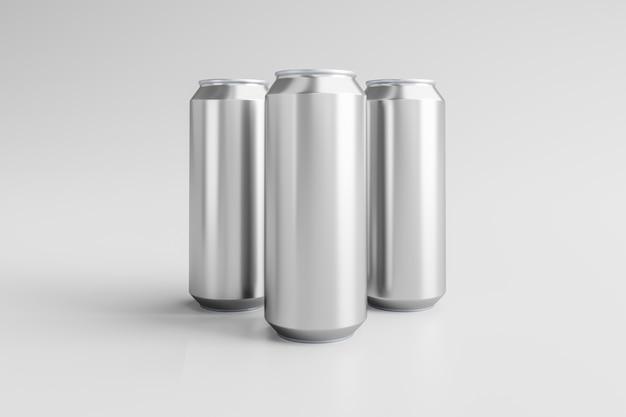 Canette en aluminium sur fond blanc rendu 3d