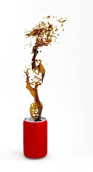 Canette en aluminium rouge avec éclaboussures de coke