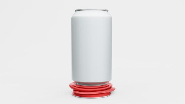 Canette en aluminium ou soda pack maquette isolé sur fond blanc. , rendu 3d