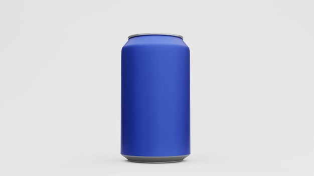 Canette en aluminium ou soda pack maquette isolé sur une surface blanche. rendu 3d