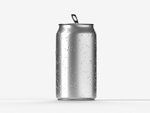 Canette de soda ou de bière en aluminium vierge avec des gouttes d'eau isolées sur un rendu 3d blanc