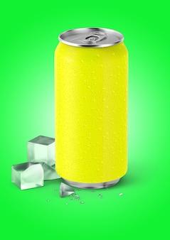 Canette de soda jaune rendu 3d