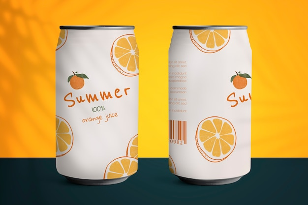 Canettes de soda avec motif d'agrumes tropicaux d'été
