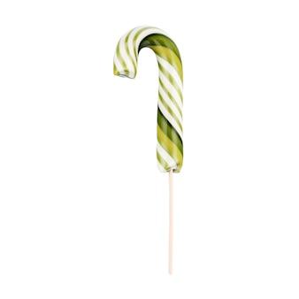 Canne en bonbon rayée sur un bâton aux couleurs de noël isolé.