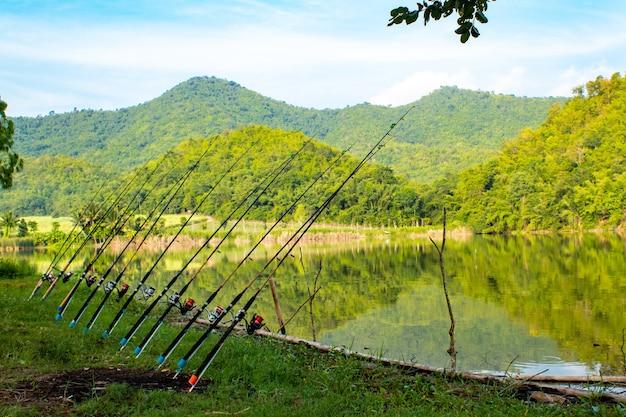Canne à pêche implantée au sol au réservoir.
