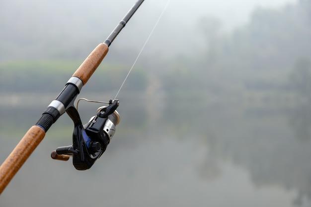 Canne à pêche avec soft-focus et sur la lumière