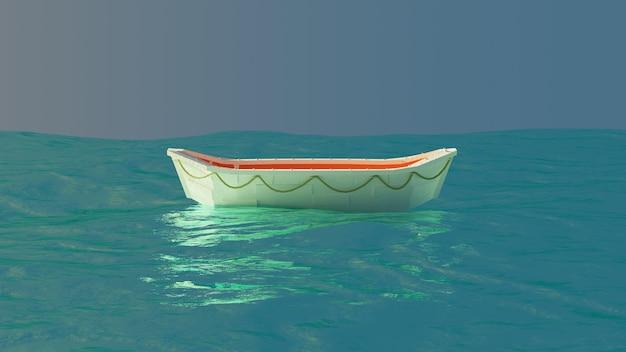 Canot de sauvetage flottant au milieu de l'océan dans l'après-midi rendu 3d fond d'écran