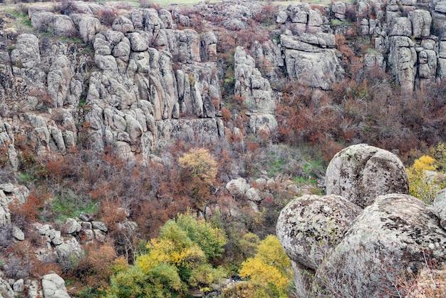 Canyon aktovsky, ukraine. arbres d'automne et gros rochers autour