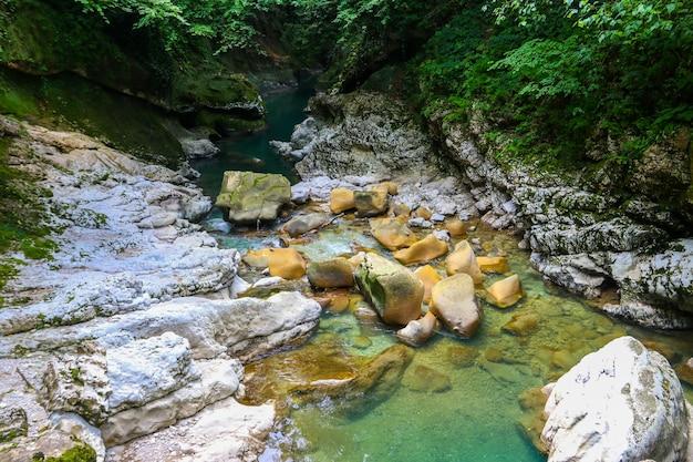 Canyon de martvili en géorgie. beau canyon naturel avec vue sur la rivière de montagne abasha