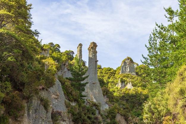 Canyon des pinacles de putangirua. paysages de l'île du nord, nouvelle-zélande