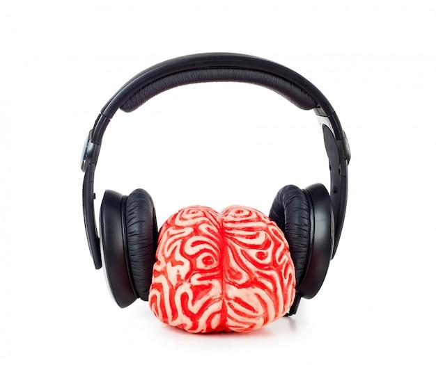 Caoutchouc cerveau humain avec des écouteurs