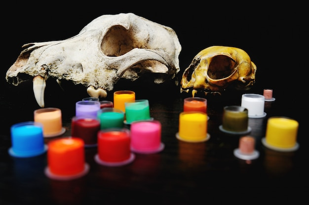 Caps pour encre de tatouage avec couleur sur le fond du crâne.