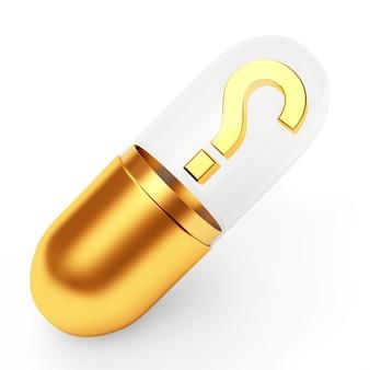 Capsule médicale dorée avec un point d'interrogation