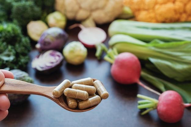 Capsules de légumes crucifères, compléments alimentaires pour une alimentation saine
