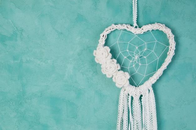 Capteur de rêves coeur blanc