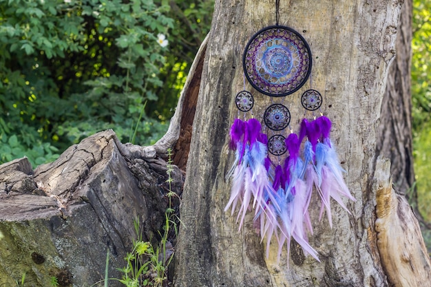 Capteur de rêves fait main avec fils en plumes et corde en perles suspendue