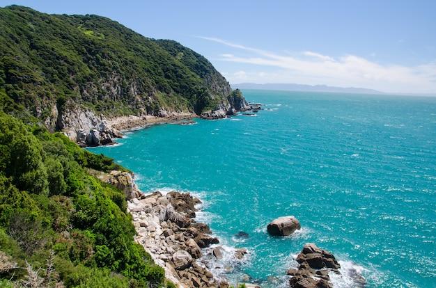 Capture en grand angle de la mer bleue depuis la piste abel tasman, nouvelle-zélande