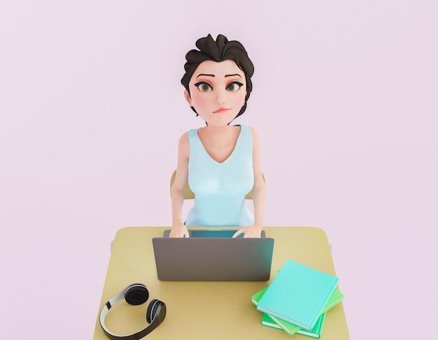 Caractère 3d d'une fille avec un visage fatigué à l'aide d'un ordinateur portable