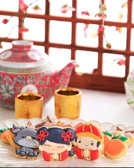 Caractère de biscuits au sucre glacé imlek du nouvel an chinois.
