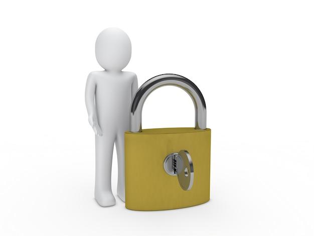 Caractère à côté d'un cadenas avec la clé