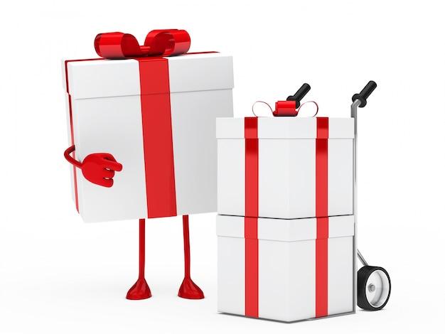Caractère à côté d'un chariot avec des cadeaux