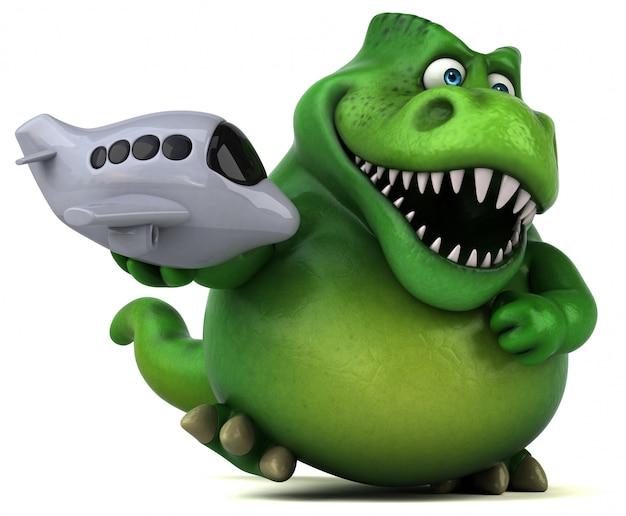 Caractère de dinosaure amusant isolé - illustration 3d