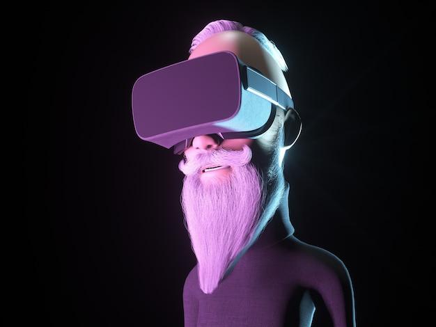 Caractère hipster stylisé dans un casque de réalité virtuelle ou des lunettes vr. illustration 3d