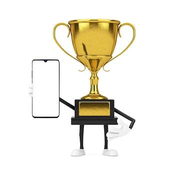 Caractère de personne de mascotte de trophée de gagnant de récompense d'or avec le téléphone portable moderne et l'écran vide pour votre conception sur un fond blanc. rendu 3d