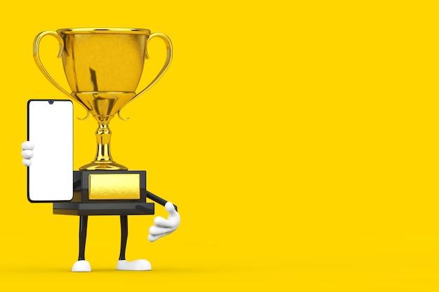 Caractère de personne de mascotte de trophée de gagnant de récompense d'or avec le téléphone portable moderne et l'écran vide pour votre conception sur un fond jaune. rendu 3d