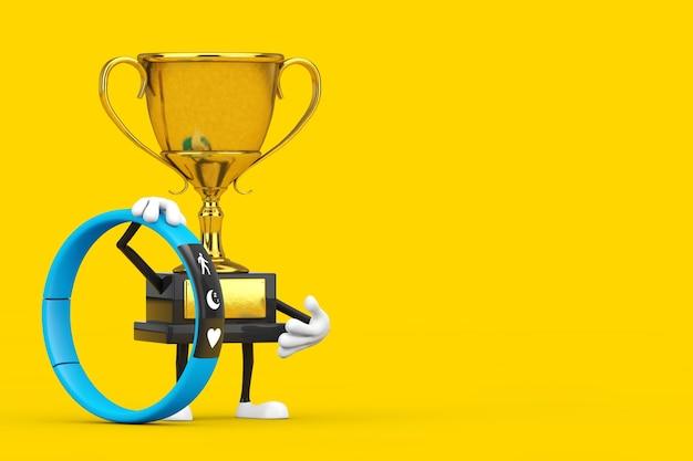 Caractère de personne de mascotte de trophée de gagnant de récompense d'or avec le traqueur de forme physique bleu sur un fond jaune. rendu 3d