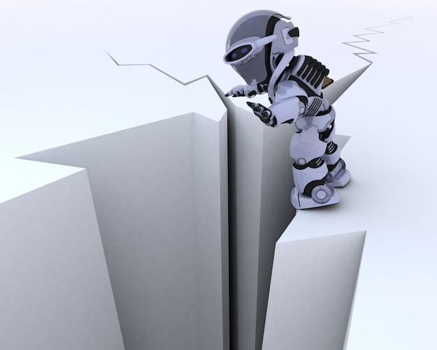 Caractère de robot, surface fissurée