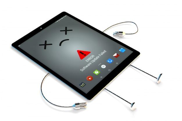 Caractère de la tablette. concept d'erreur logicielle. illustration 3d isolée avec un tracé de détourage