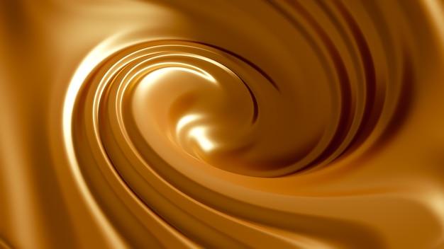 Caramel splash en spirale. illustration 3d, rendu 3d.