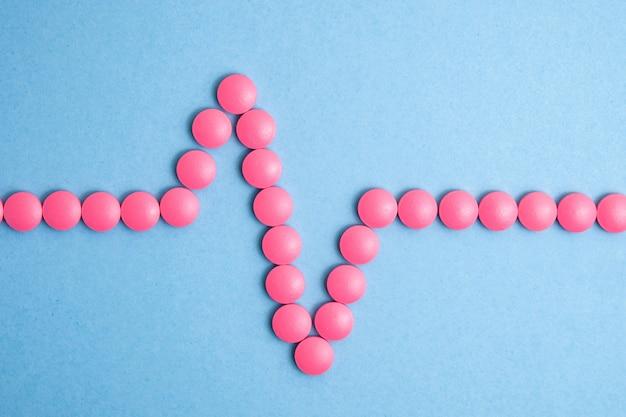 Cardiogramme cardiaque composé de pilules roses