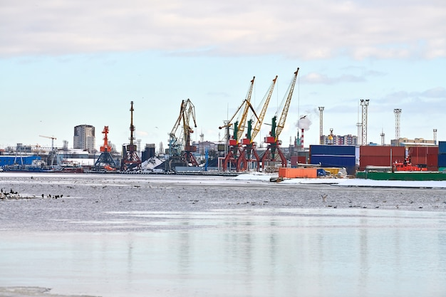 Cargos amarrés et grues portuaires au port